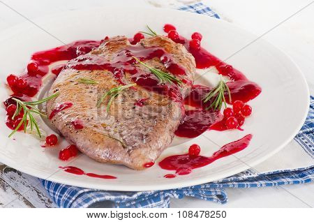 Turkey Breast With Cranberry Sauce On White Plate.