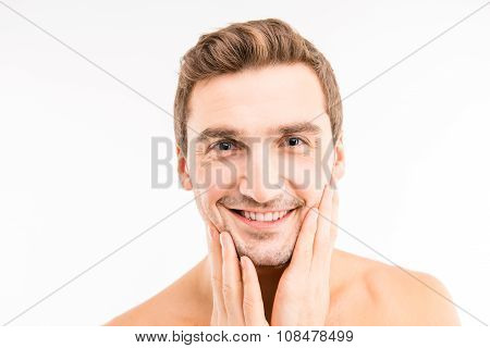Handsome Man Touching His Face After Shave