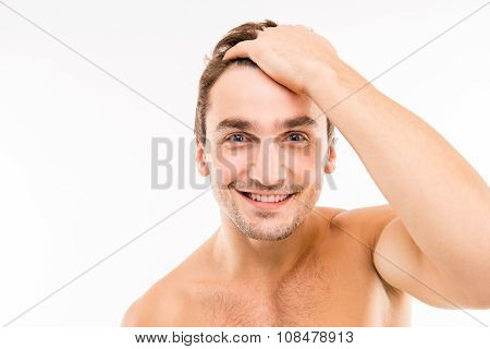 Handsome Funny Young Man Combing Hair With Fingers