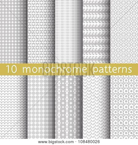 10 Monochrome Seamless Patterns.