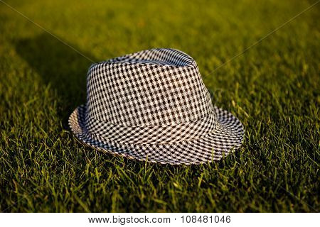 Grey Unisex Striped Hat On The Grass