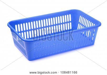 Blue plastic storage tray isolated on white