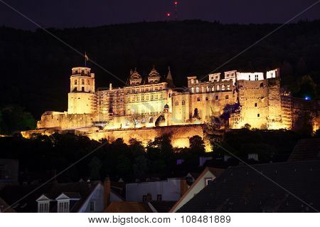 Heidelberg castle during night time view on hill