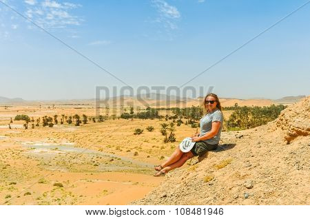Young tourist in Tafilalt oasis in Morocco