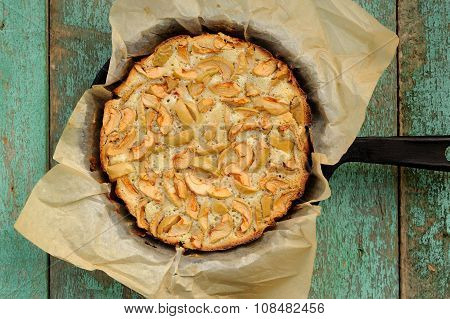 Apple Pie In Skillet With Baking Paper