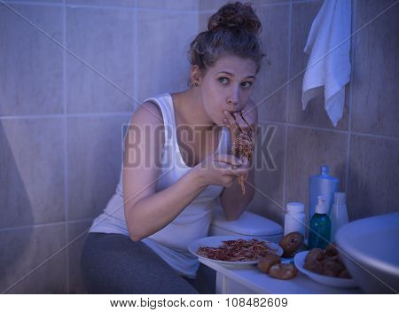 Girl Stuffing With Spaghetti