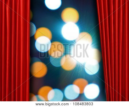Red curtain on theater or cinema stage slightly open on bright background