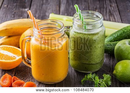Blended Smoothie With Ingredients.