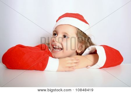 Little Girl In Santa's Hat