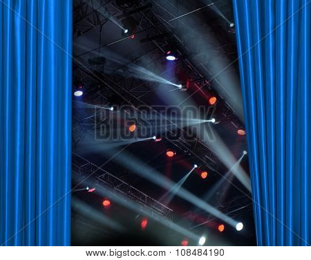 Blue curtain on tconcert stage slightly open