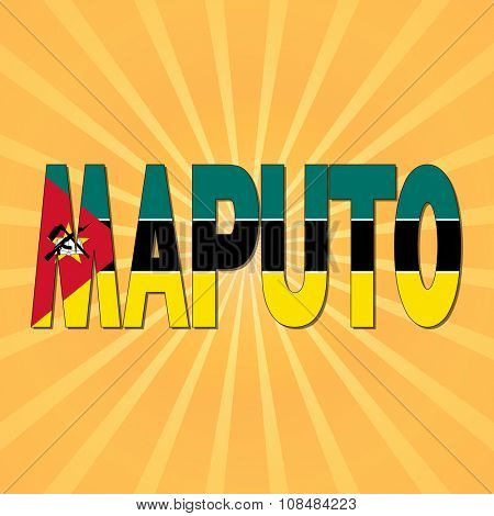 Maputo flag text with sunburst illustration