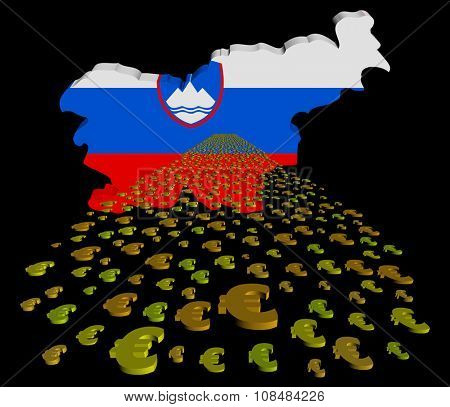 Slovenia map flag with euros foreground illustration