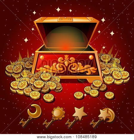 Open box with Royal  gold coins and magic keys