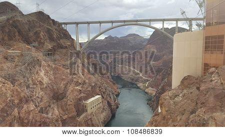 Famous Hoover Dam at Lake Mead, Nevada and Arizona Border, United States.
