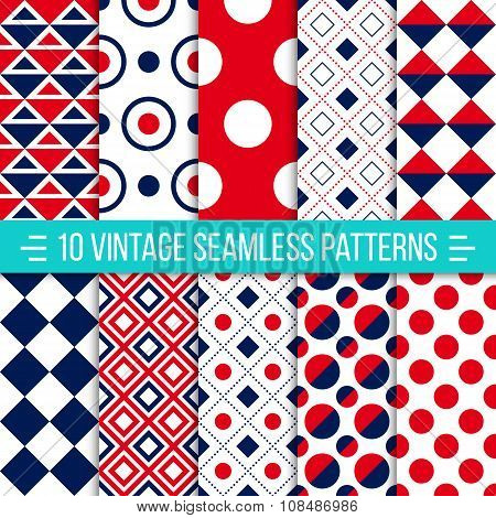 Seamless Retro Patterns Set
