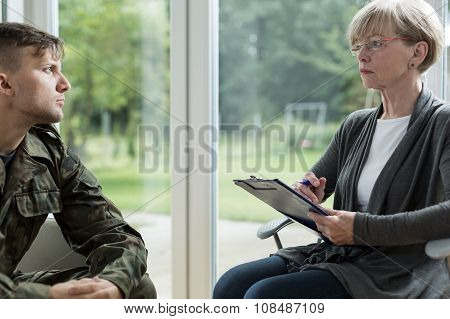 Psychologist Helping Soldier