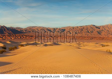 Death valley sand dunes and mountains