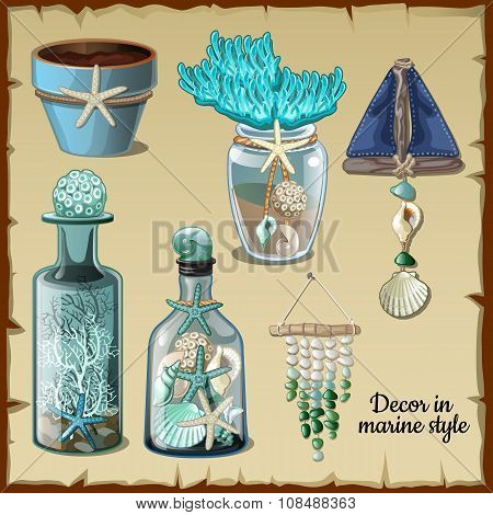 Image set of the interior ocean, bottles, glass and other items