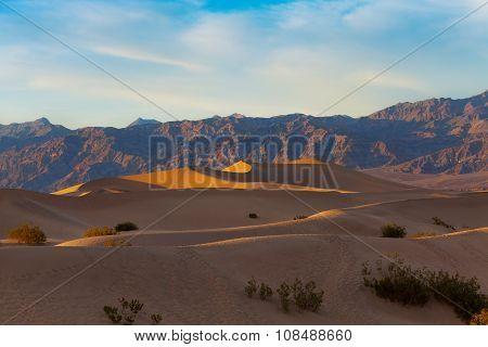 Beautiful sand dunes in Death Valley sunset light
