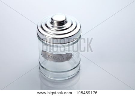 air tight glass jar on the white background