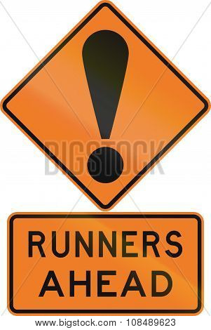 Road Sign Assembly In New Zealand - Runners Ahead