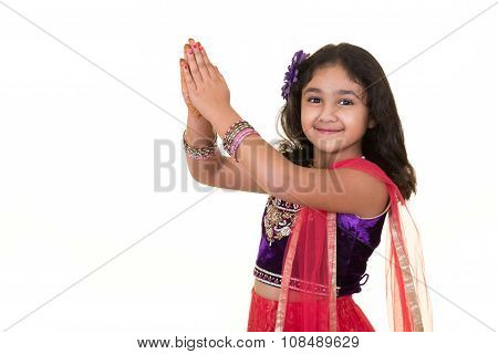 Portriat Of A Little Girl In Indian Dance Pose, Isolated, White