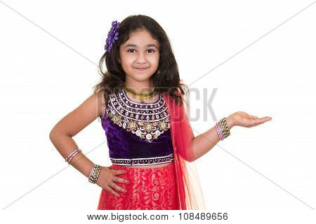 Portrait Of A Little Girl In Indian Dance Pose, Isolated, White