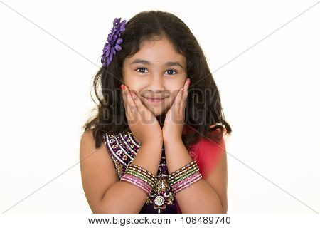 Portrait Of A Smiling Little Indian Girl, Isolated, White