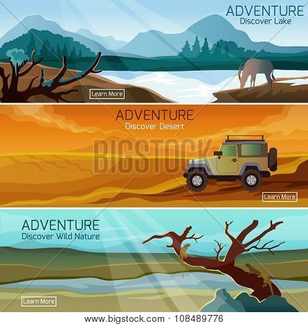 Nature landscapes travel flat banners set