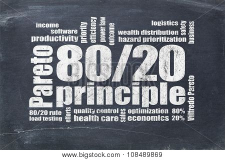 Pareto principle or eighty-twenty rule - word cloud on a blackboard