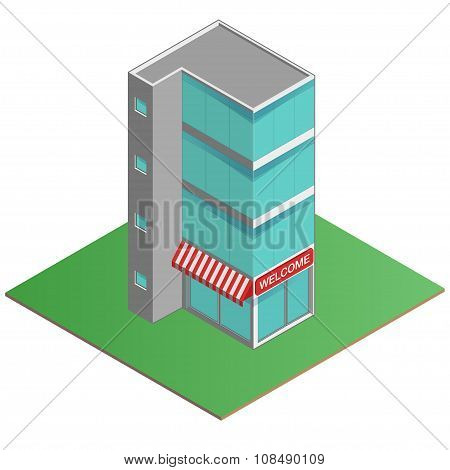 3D Modern Office Building, Business Center In The Isometric Projection. Isometric Vector Illustratio