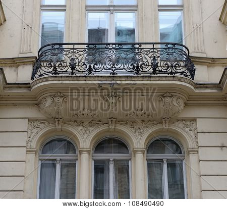 Facade Details Of Old Building On Porici Street In Prague.