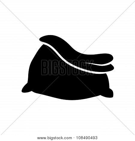 Santa Bag, Christmas Empty Sack Icon, Symbol, Design Silhouette. Winter Vector Illustration Isolated