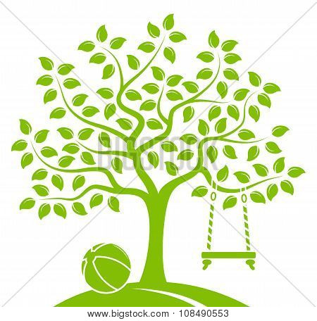 Tree With Swing And Ball