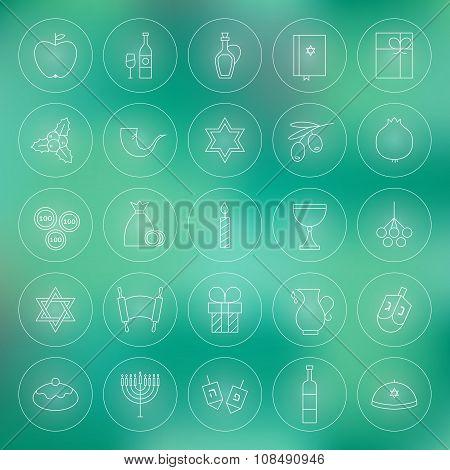 Thin Outline Jewish Happy Hanukkah Circle Line Icons Set
