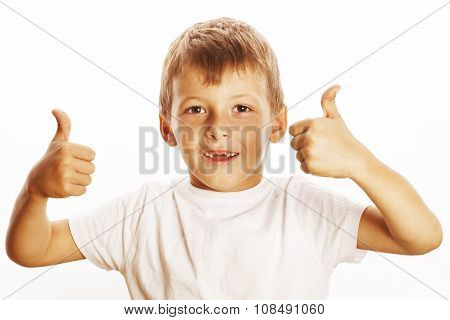 young little boy isolated thumbs up on white gesturing both hands smiling