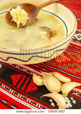 traditional romanian gourmet chicken jelly with cloves of garlic and horseradish