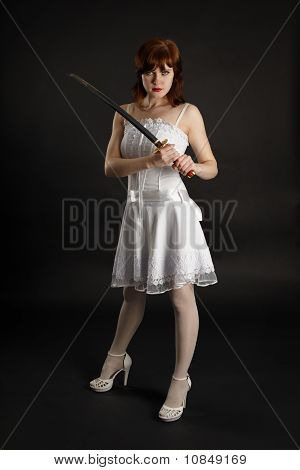 Beautiful Girl Armed With Sword