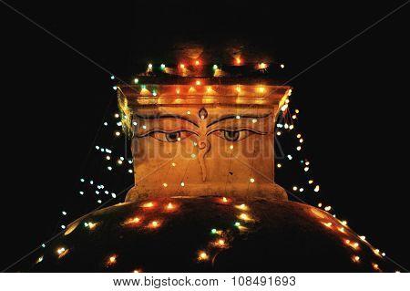Bouddhanath Stupa With Illumination At Night In Kathmandu