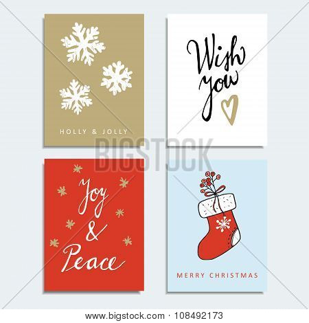 Set Of Christmas Greeting, Journal Cards, Invitations, Vector