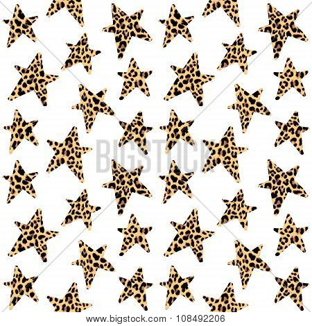 Seamless Pattern With Leopard Stars, Trendy Rock Or Punk Design, Vector