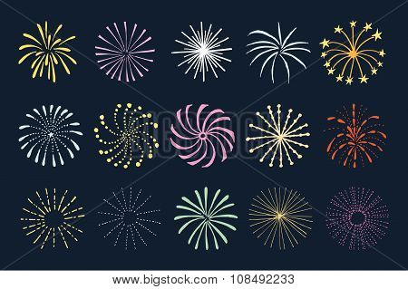 Set Of Hand Drawn Fireworks And Sunbursts, Isolated Vectors