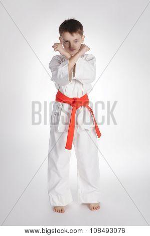 boy practice karate