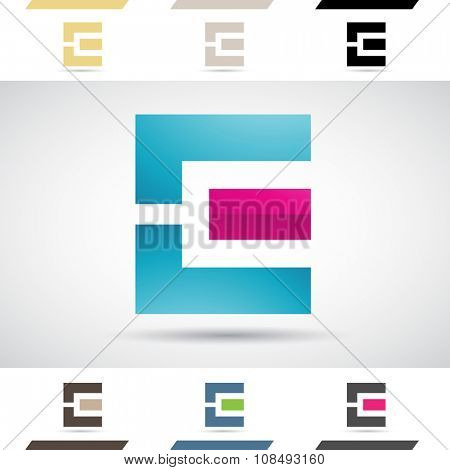 Design Concept of Colorful Stock Icons and Shapes of Letter E, Vector Illustration