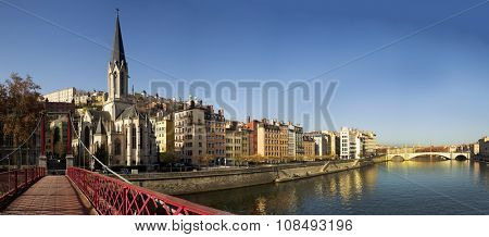 LYON-FRANCE NOVEMBER 16, 2015:  Soane river and banks where people relaxing and walking