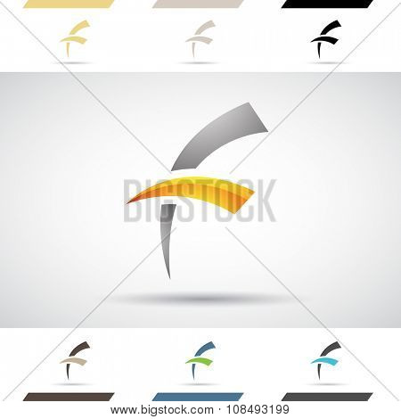 Design Concept of Colorful Stock Icons and Shapes of Letter F, Vector Illustration