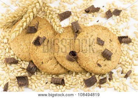 Integral Cookies With Chocolate Crumbs And Wheat Plant On White Background