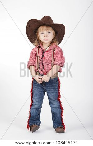 little funny cowgirl on white background