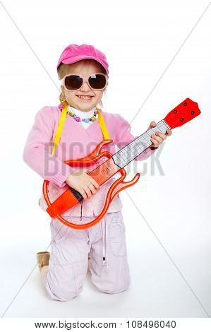 little girl playing electric guitar hardcore