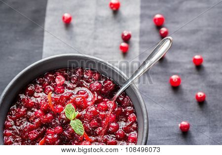 Bowl Of Homemade Cranberry Sauce
